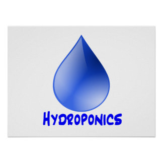 Hydroponics logo water drop and text image poster
