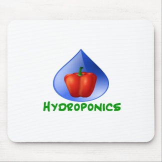 Hydroponics Red bell Pepper green text Mouse Pads
