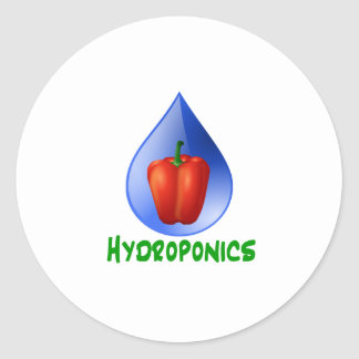 Hydroponics Red bell Pepper green text Round Sticker