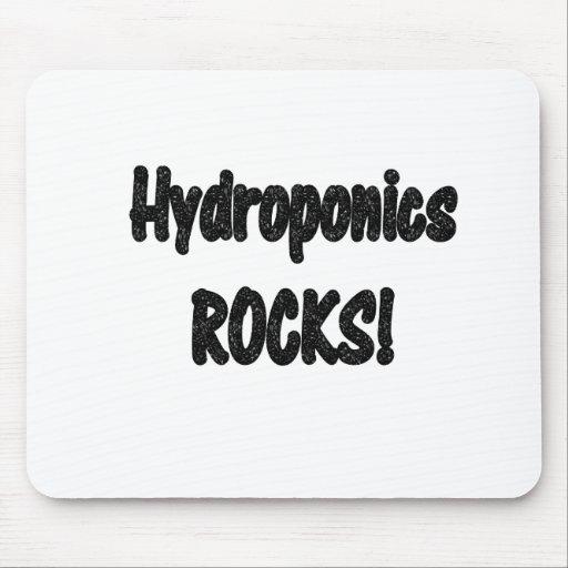 Hydroponics rocks! Black rock text design Mouse Pad