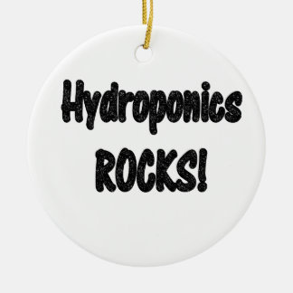 Hydroponics rocks! Black rock text design Double-Sided Ceramic Round Christmas Ornament