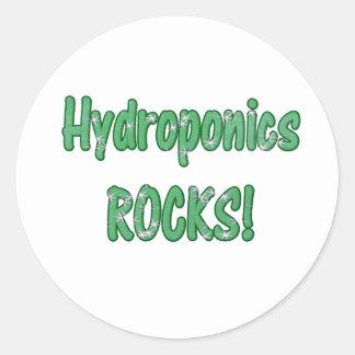 Hydroponics Rocks Green Grass Text Texture Round Stickers