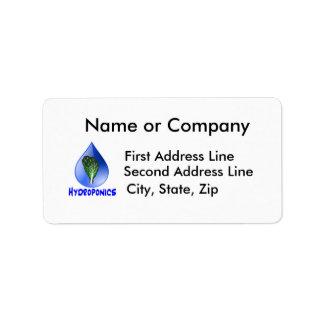 Hydroponics slogan Blue Drop with Lettuce graphic Address Label