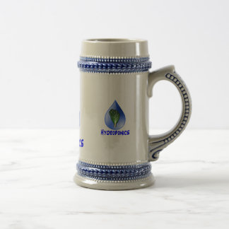 Hydroponics slogan Blue Drop with Lettuce graphic 18 Oz Beer Stein