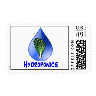Hydroponics slogan Blue Drop with Lettuce graphic Stamp