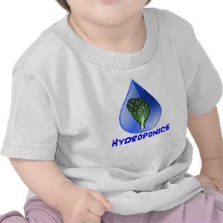 Hydroponics slogan Blue Drop with Lettuce graphic T Shirts