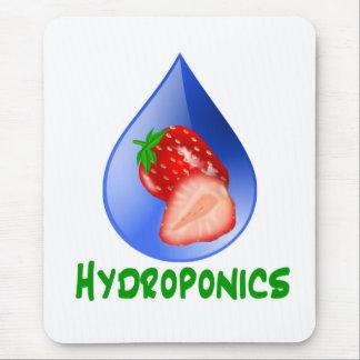 Hydroponics, strawberries, green text, blue drop mouse pad