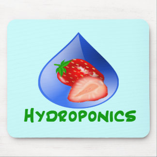 Hydroponics, strawberries, green text, blue drop mouse pads