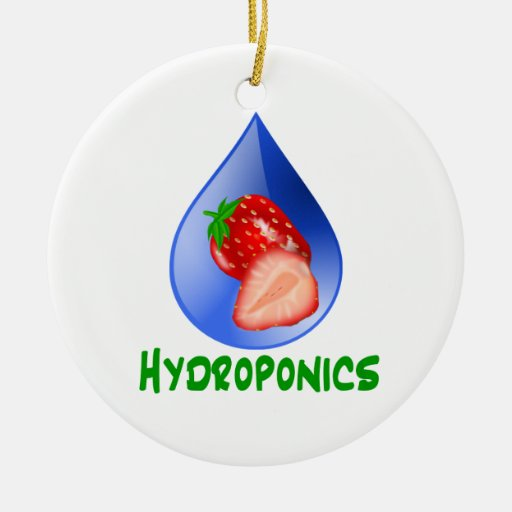 Hydroponics, strawberries, green text, blue drop christmas tree ornament