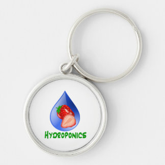 Hydroponics, strawberries, green text, blue drop Silver-Colored round keychain