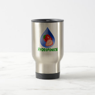 Hydroponics, strawberries, green text, blue drop travel mug