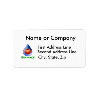 Hydroponics-Tomato, Green Text, Blue drop Address Label