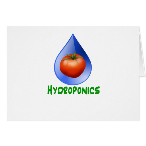 Hydroponics-Tomato, Green Text, Blue drop Greeting Card