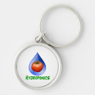 Hydroponics-Tomato, Green Text, Blue drop Silver-Colored Round Keychain