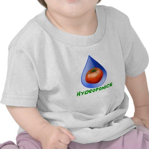 Hydroponics-Tomato, Green Text, Blue drop T-shirts