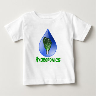 Hydroponics, water drop and lettuce Green text Baby T-Shirt