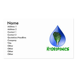Hydroponics, water drop and lettuce Green text Business Card