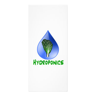 Hydroponics, water drop and lettuce Green text Custom Rack Card