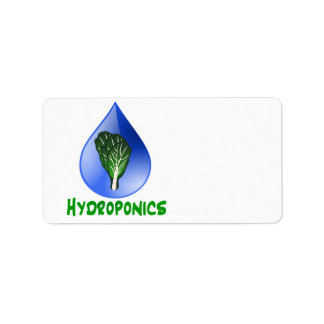 Hydroponics, water drop and lettuce Green text Label