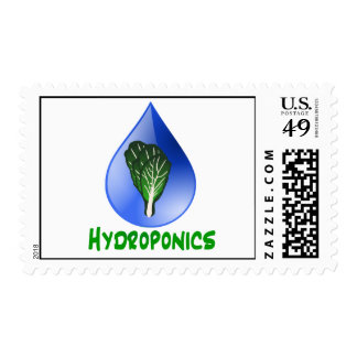 Hydroponics, water drop and lettuce Green text Postage Stamp