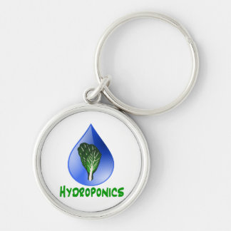 Hydroponics, water drop and lettuce Green text Silver-Colored Round Keychain