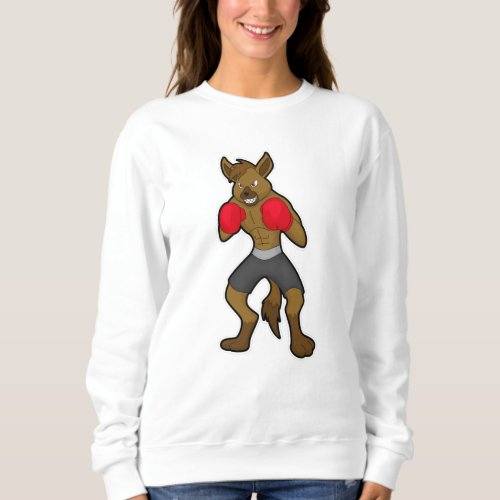 Hyena at Boxing with Boxing gloves Sweatshirt