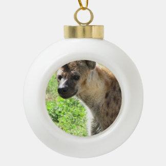 Hyena Ceramic Ball Christmas Ornament