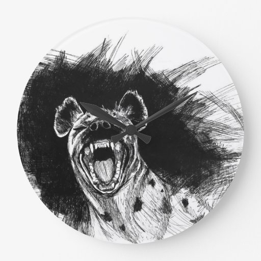 Hyena histérico reloj de pared