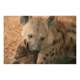 Hyena manchado (Crocuta del Crocuta) con el Impresiones En Madera