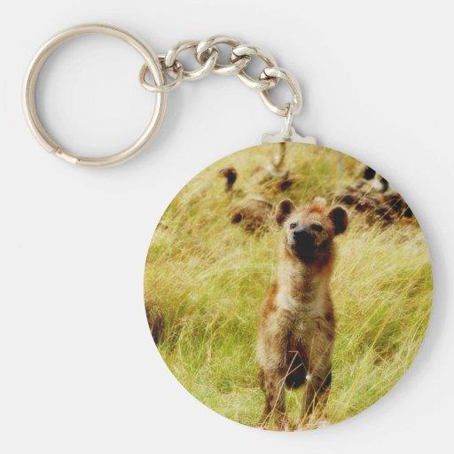 Hyena with wildebeest (gnu) keychain holder