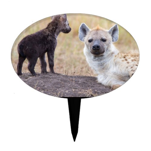 Hyena with young one cake topper