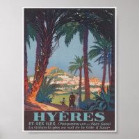 Hyeres France Vintage Travel Poster