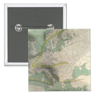 Hyetographic map Europe 2 Inch Square Button