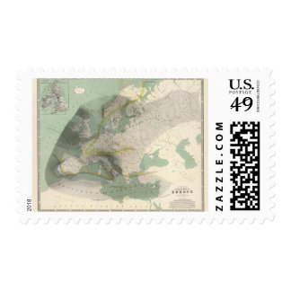 Hyetographic map Europe Postage