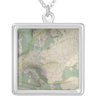 Hyetographic map Europe Silver Plated Necklace