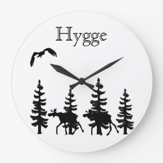 Hygge and nordic forest silhouettes in black