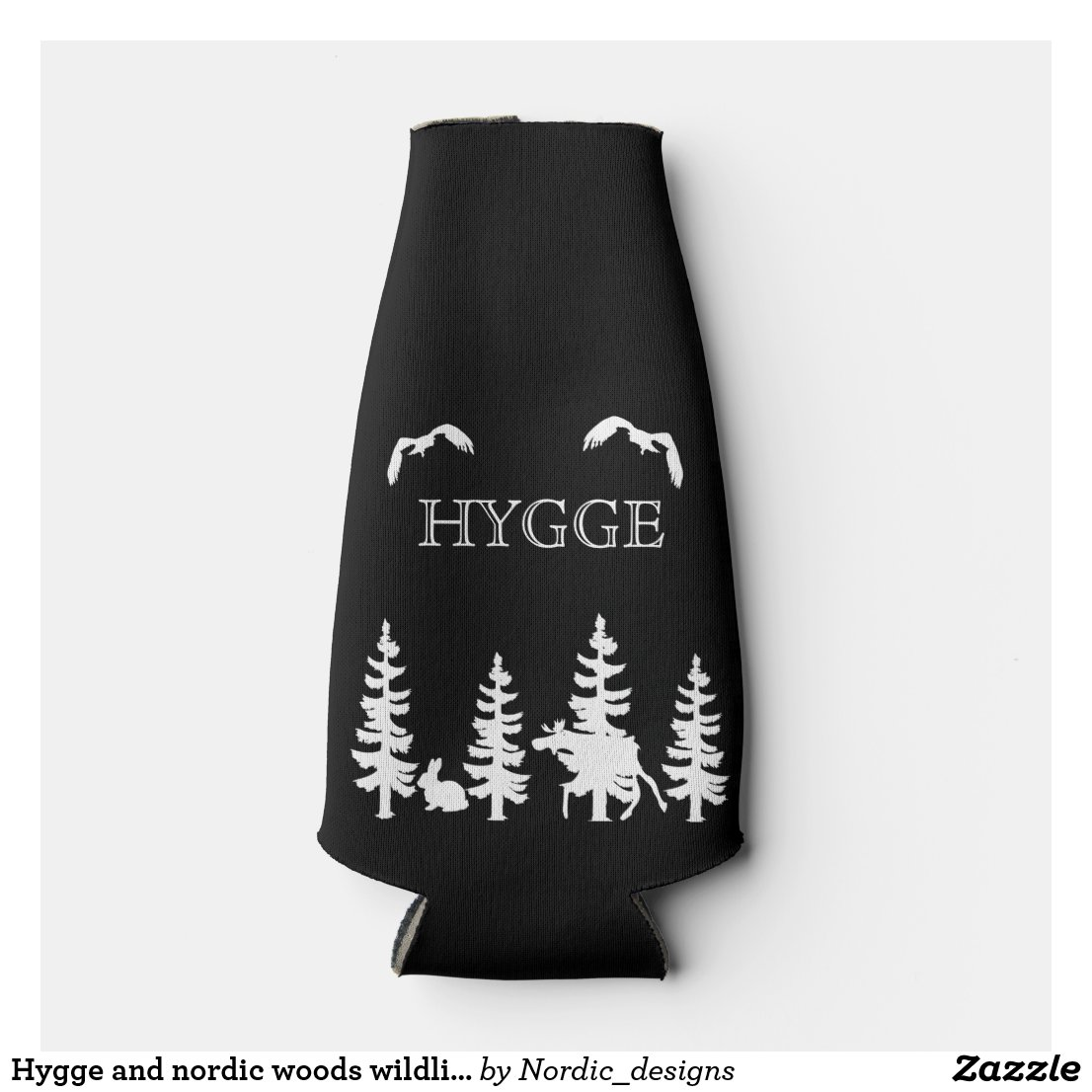 Hygge and nordic woods wildlife silhouettes black
