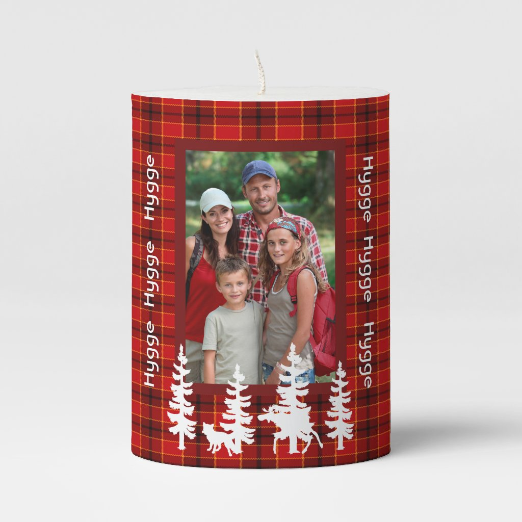 Hygge custom family photo on red plaid forest