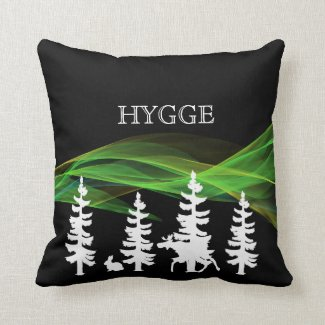 Hygge forest in black white and northern lights