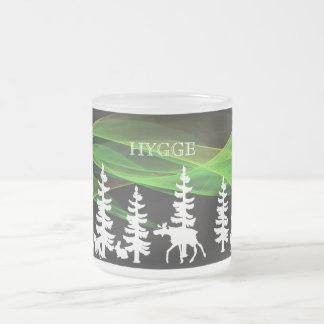 Hygge nordic woods in white with northern lights frosted glass coffee mug