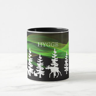 Hygge nordic woods in white with northern lights mug