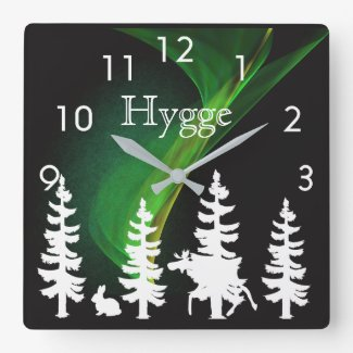Hygge nordic woods silhouettes and northern lights