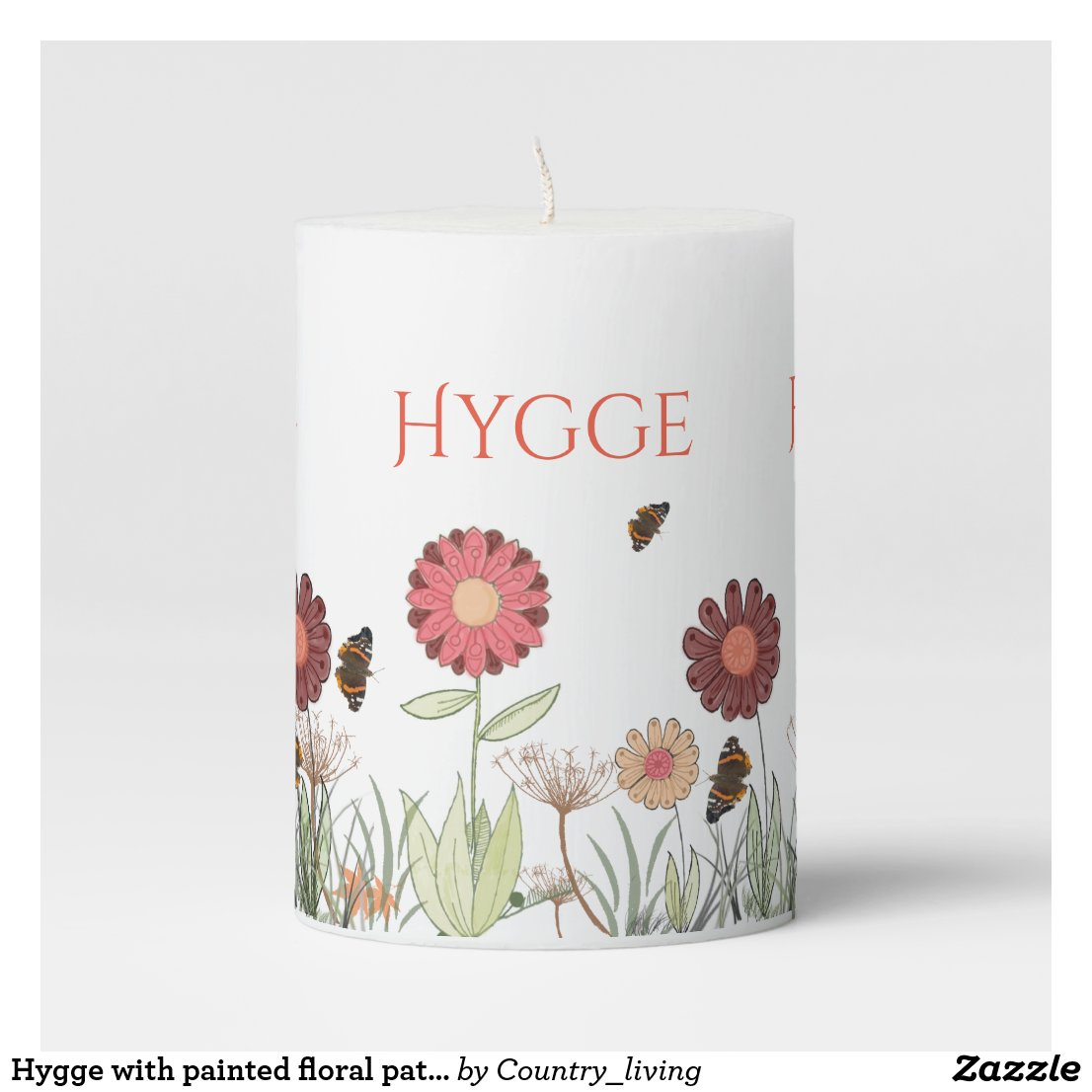 Hygge with painted floral pattern burgundy meadow