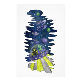 Hylaeus Bee with Alien in Space Galaxy star planet Stationery