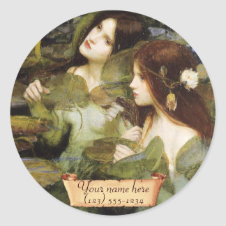 """""""Hylas and the Nymphs"""" Pre-Raphaelite Bookplate Classic Round Sticker"""