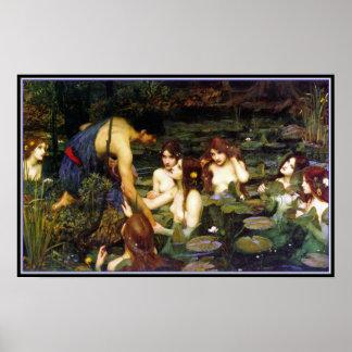 Hylas y las ninfas - por el Waterhouse de Juan Póster