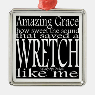 Hymn Amazing Grace (Black) Metal Ornament