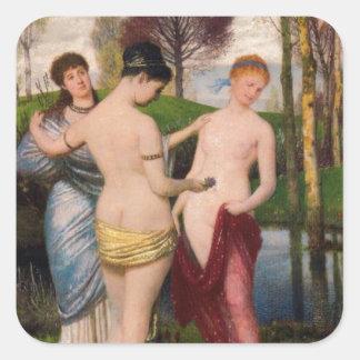 Hymn to spring by Arnold Böcklin Square Sticker