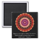 Hypatia Quote about freedom of thought 2 Inch Square Magnet
