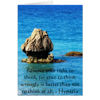 Hypatia Quote about freedom of thought Greeting Card